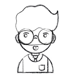 Figure man teacher with hairstyle and uniform vector
