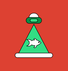 Flat icon design collection flying saucer and fish vector