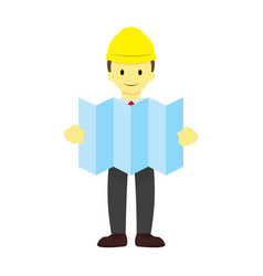 Foreman with site plan graphic vector