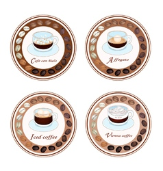 Four Type of Coffee Drink in Retro Round Label vector