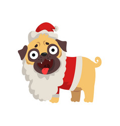 Funny pug dog character dressed as santa claus vector