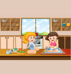 Girls cleaning dish in kitchen vector