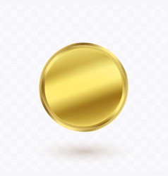 gold coin with the shadow vector image