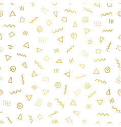 gold foil abstract doodle shapes background vector image