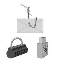 Hacker and hacking monochrome icons in set vector