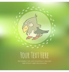 Hand drawn cartoon bird on blurred vector image