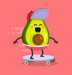 happy avocado riding on a skateboard vector image