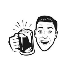 Happy man with beer in his hand retro comic pop vector