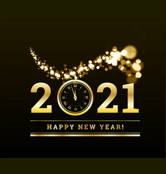 Happy new year 2021 with gold particles and a vector
