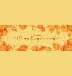 happy thanksgiving brush pen lettering watercolor vector image