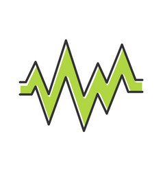 Heart beat color icon sound and audio green wave vector