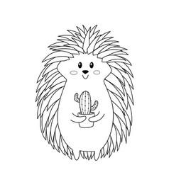 Hedgehog doodle coloring book page antistress vector