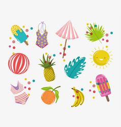 Hello summer holiday things design vector