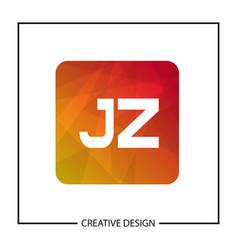 initial letter jz logo template design vector image