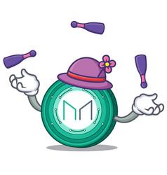 Juggling maker coin mascot cartoon vector