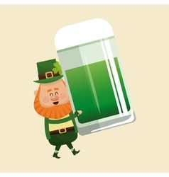 leprechaun carrying mug green beer vector image