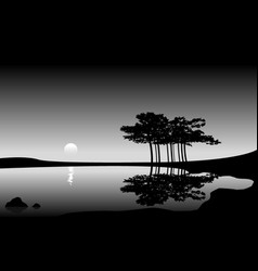 Minimal landscape with trees reflecting in water vector