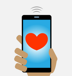 Mobile phone screen with red heart concept image vector