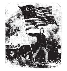 Old flag again on sumter- raised vintage vector