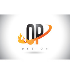 Op o p letter logo with fire flames design and vector