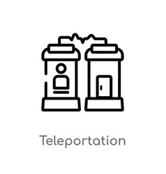 Outline teleportation icon isolated black simple vector