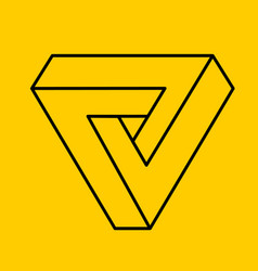 Outline yellow penrose triangle geometric 3d vector