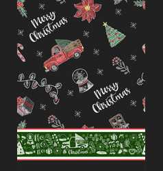 pattern with christmas elements painted chalk vector image