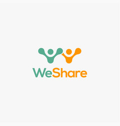 people share logo icon template vector image