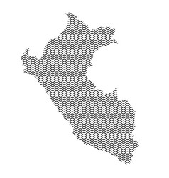 Peru map country abstract silhouette of wavy vector