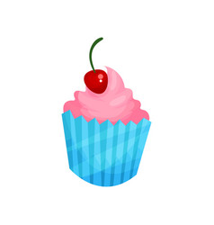 pink cupcake with cherry cartoon vector image