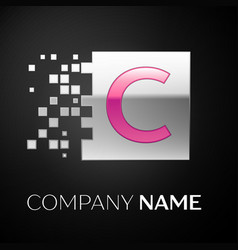 Pink letter c logo symbol in the silver square vector