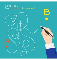 Point A to B flat pen route vector image