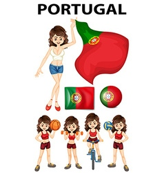 Portugal flag and woman athlete vector image