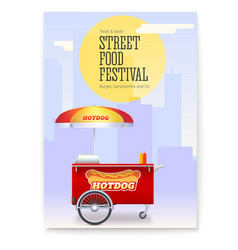 Poster with fast food cart on backdrop big city vector