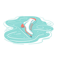 Retro ice skate on scratched rink frozen snow vector