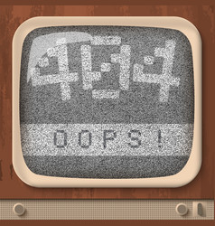 Retro tv page not found error vector