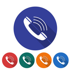 Round icon of handset flat style with long shadow vector