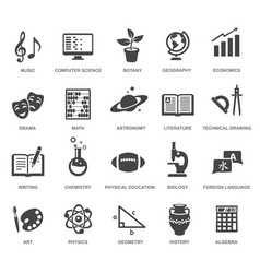 School subjects black glyph icons set vector