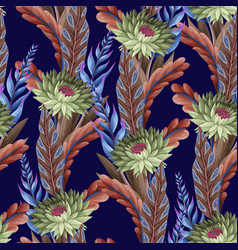 Seamless pattern with tropical flowers trendy vector