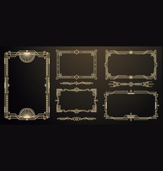 set art deco frames and borders decorative vector image