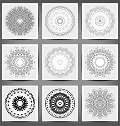 set ethnic ornamental floral pattern hand drawn vector image