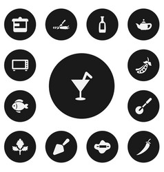 set of 13 editable meal icons includes symbols vector image