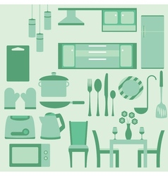 Set of furniture in kitchenroom vector image