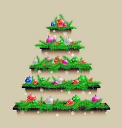 shelves christmas tree vector image