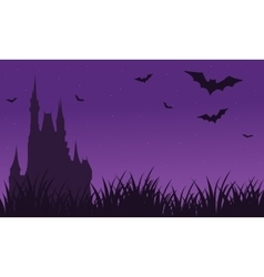 Silhouette of castle and bat twilight Halloween vector image
