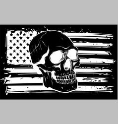 Silhouette skull and flag usa vector