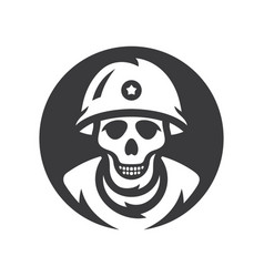 skull soldier silhouette sign vector image