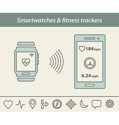 Smartwatch and fitness tracker vector