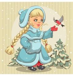 Snow Maiden in blue fur coat feeds bullfinch vector image