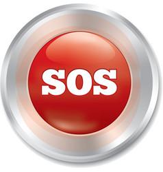 Sos button Metallic icon on white background vector